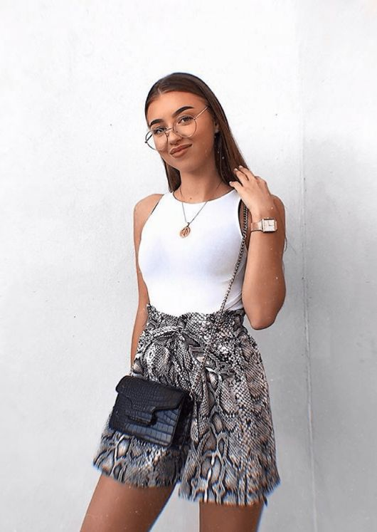f8da3c6fcc Snake Print Belt Elasticated Paper Bag High Shorts Multi | Lily Lulu