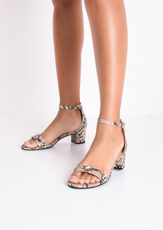 Snake Print Block Heeled Sandals Multi