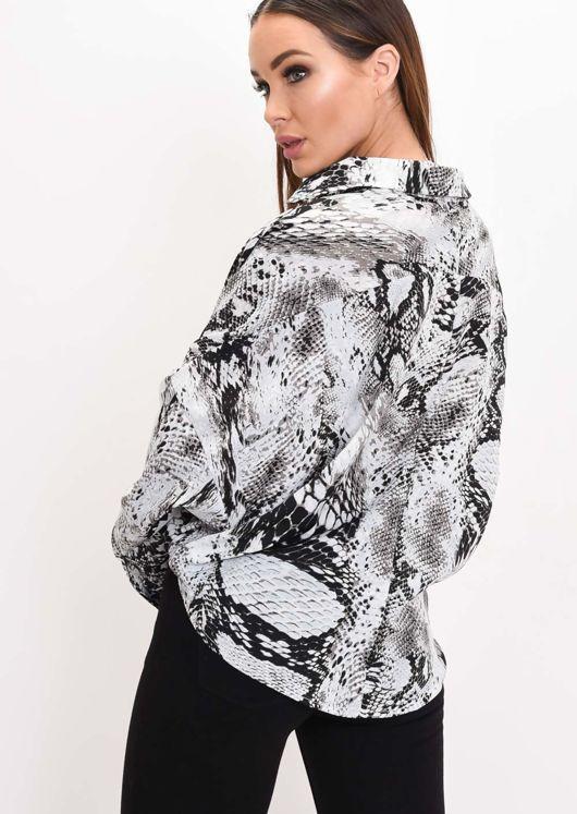 Snake Print Drape Front Blouse Grey
