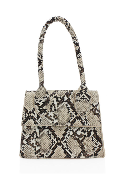 Snake Print Faux Leather Long Handle Grab Mini Bag Beige