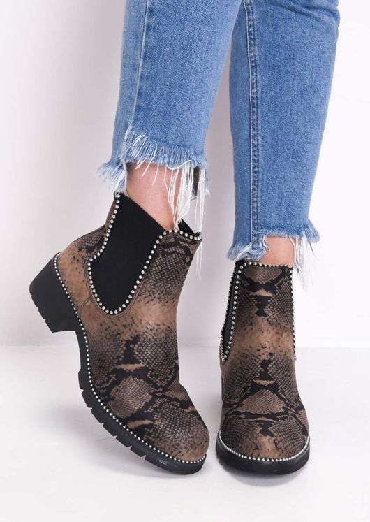 Snake Print Faux Suede Chunky Studded Chelsea Ankle Boots Multi Brown