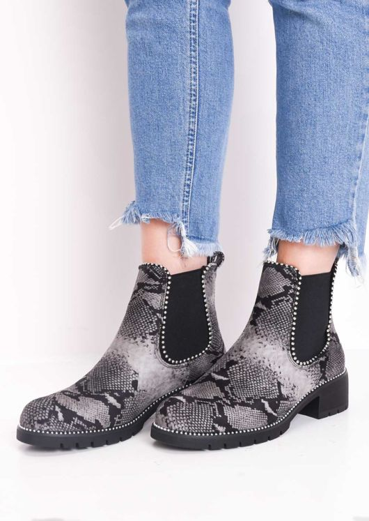 Snake Print Faux Suede Chunky Studded Chelsea Ankle Boots Multi Grey