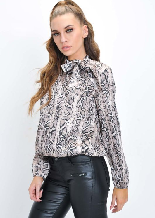 Snake Print Pussybow Blouse Multi