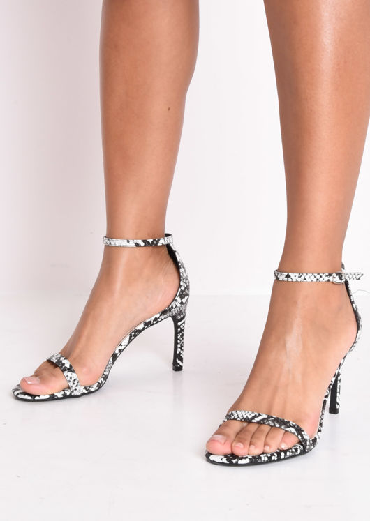 Snake Print Strappy Barely There Sandal Heels Multi