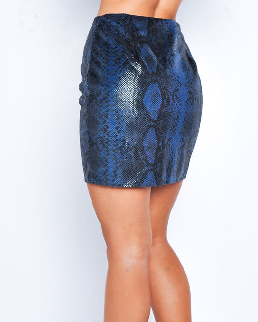 Snake Print Textured Mini Skirt Blue