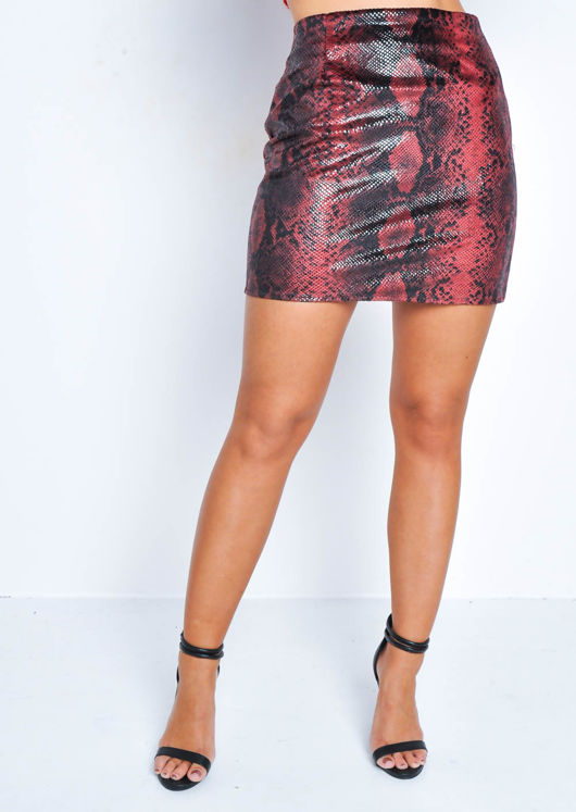 Snake Print Textured Mini Skirt Red