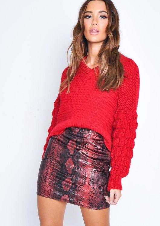 Snake Print Textured Mini Skirt Red