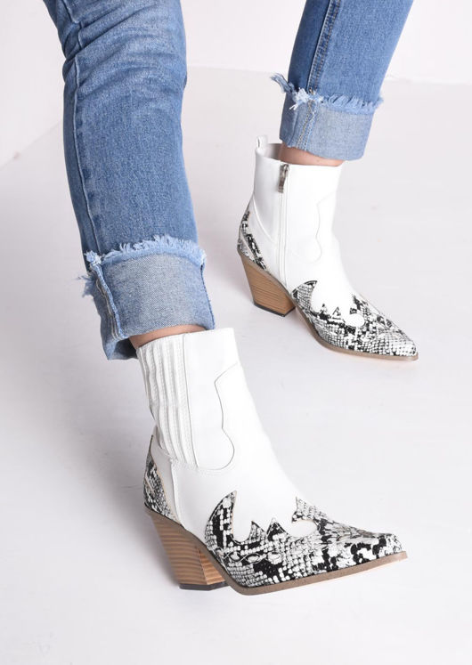 Pointed Snake Print Western Cowboy Block Mid Heeled Ankle Boots White