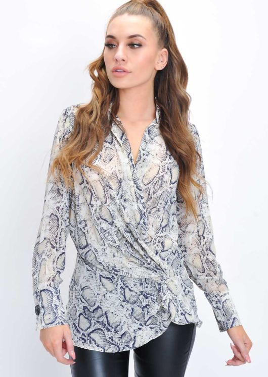 Snake Print Wrap Front Twist Collar Blouse Multi
