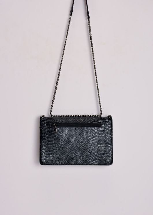 Snakeskin Effect Chain Shoulder Bag Black