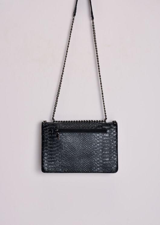 Snakeskin Effect Chain Shoulder Bag Black