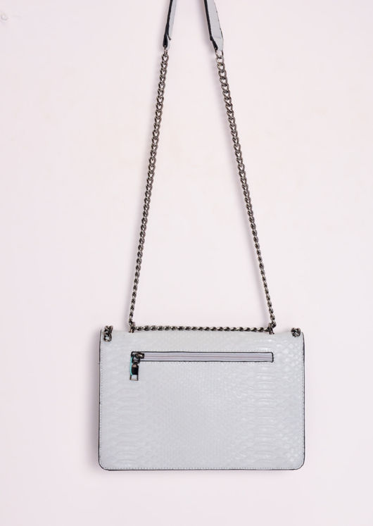 Snakeskin Effect Chain Shoulder Bag Grey