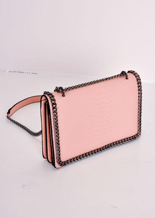 Snakeskin Effect Chain Shoulder Bag Pink