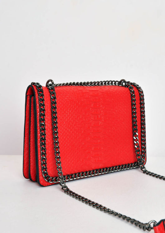 Snakeskin Effect Chain Shoulder Bag Red