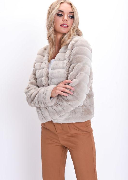 Soft Faux Fur Panel Crop Jacket Beige