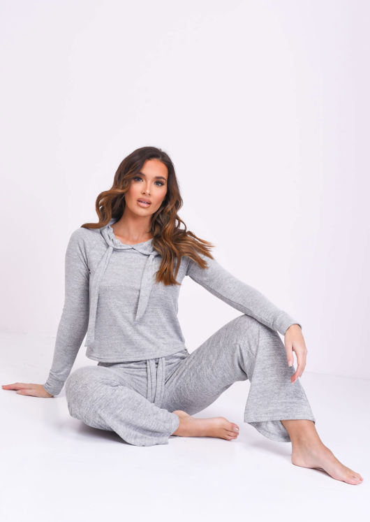 Soft Hooded Culotte Loungewear Co ord Set Grey