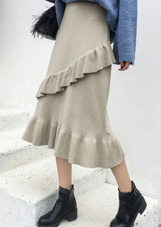 Soft Knitted Ruffle Hem Midi Skirt Beige