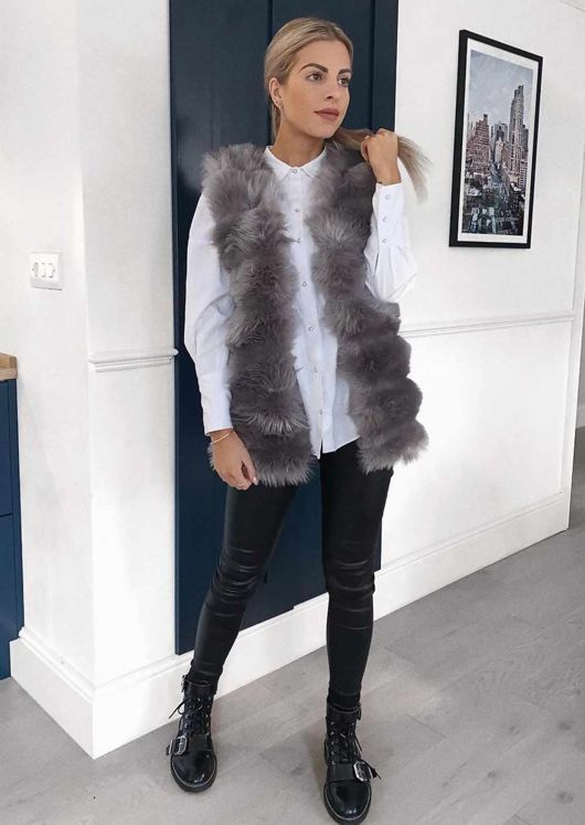 Soft Touch Faux Fur Fully Lined Gilet Grey