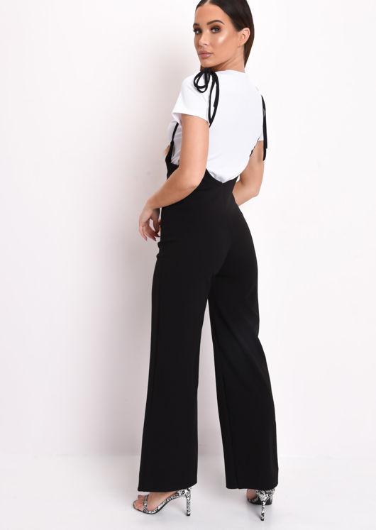 Spaghetti Strap Culotte Jumpsuit White Top Co-ord Set Black