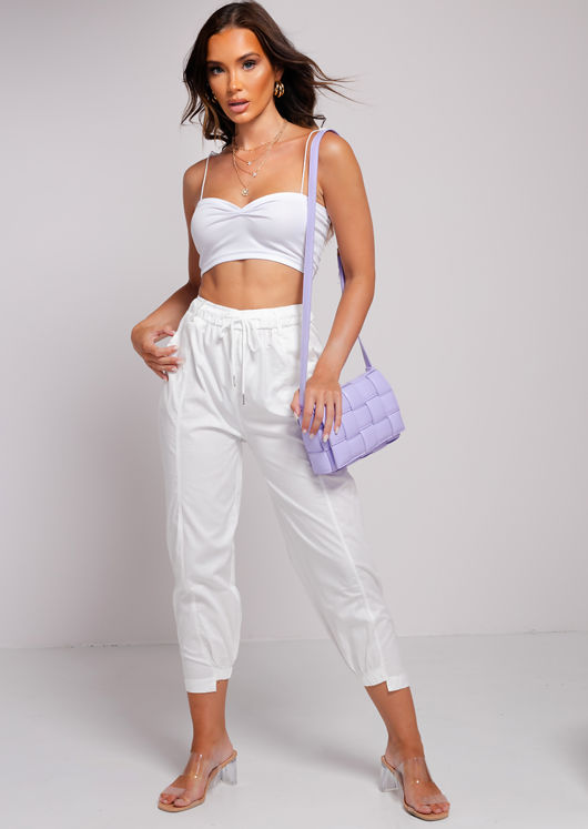 Spaghetti Strap Tie Gathered Crop Top White