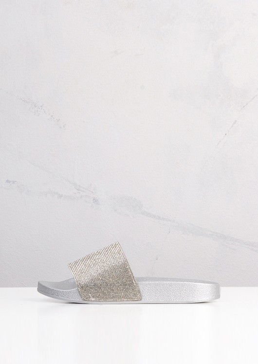 Sparkle Diamante Flat Sliders Silver