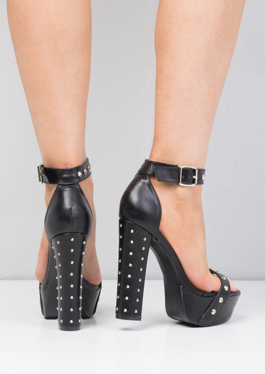 Spiked Platform Buckle Heels Black