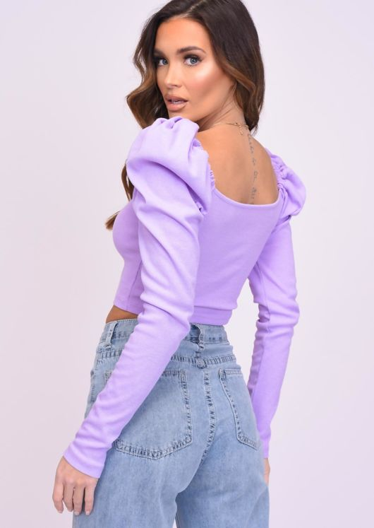 Square Neck Puff Long Sleeve Crop Top Purple