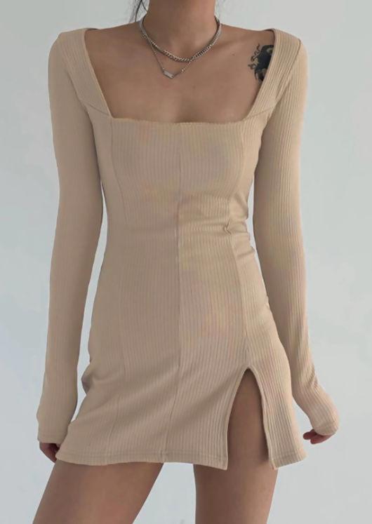 Square Neck Ribbed Front Split Mini Bodycon Dress Beige