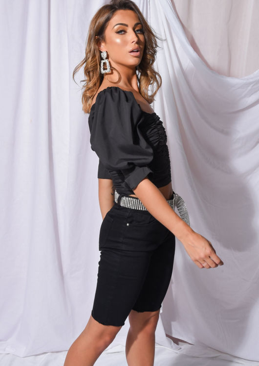 Square Neck Ruched Puff Sleeve Crop Blouse Black
