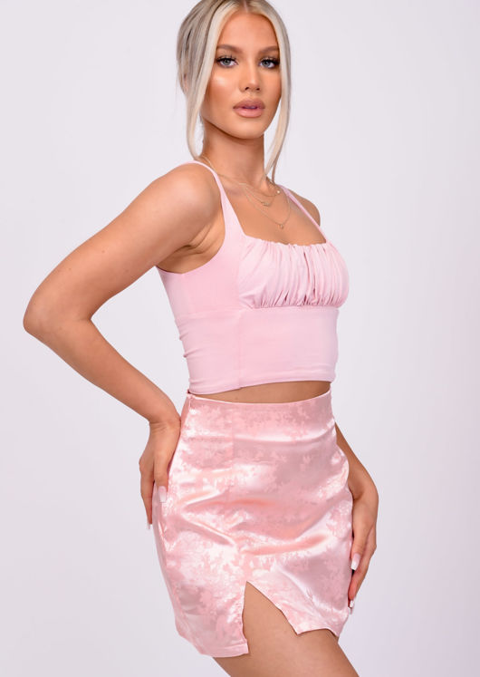 Square Neck Slinky Gathered Sleeveless Top Pink