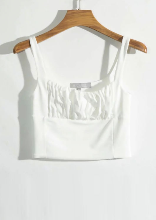 Square Neck Gathered Sleeveless Top White