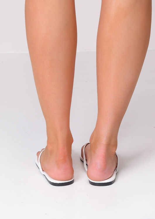 Square Toe Flip Flops Sandals White