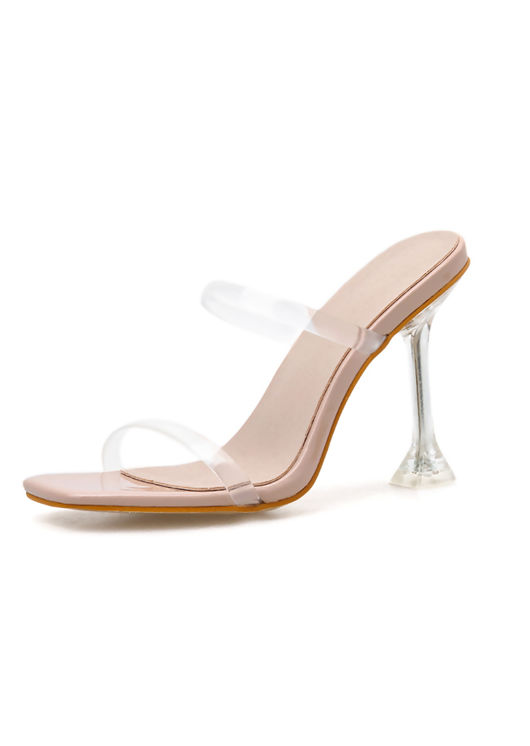 Square Toe Perspex Barely There Heels Beige