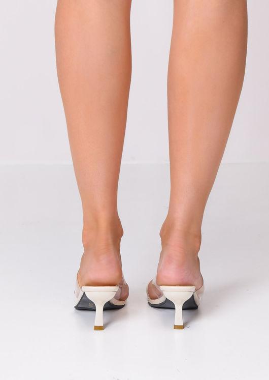 Square Toe Perspex Heeled Mule Sandals Beige
