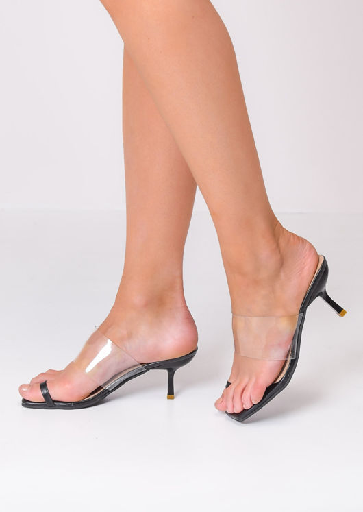 Square Toe Perspex Heeled Mule Sandals Black