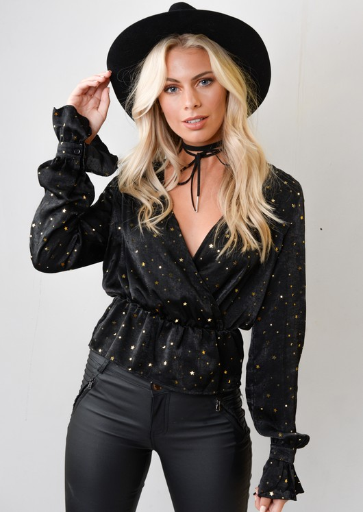 Star Sequin Plunge Satin Peplum Top Black