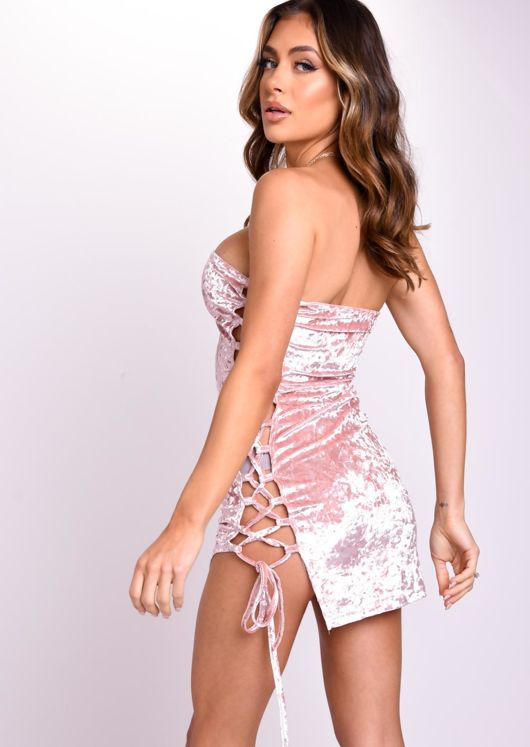 Strapless Velvet Side Lace Up Mini Dress Pink
