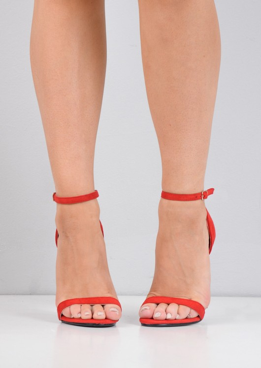 Strapped Barely There Heeled Sandals Red