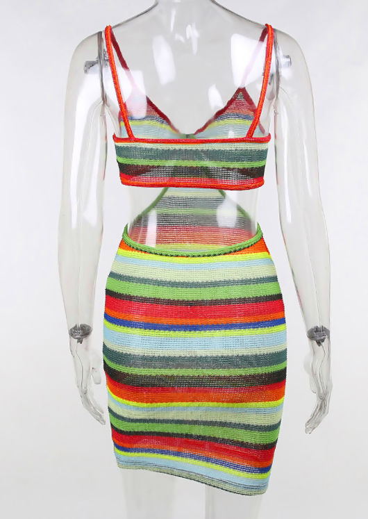 Strapped Side Cut Out Mini Bodycon Dress Multi