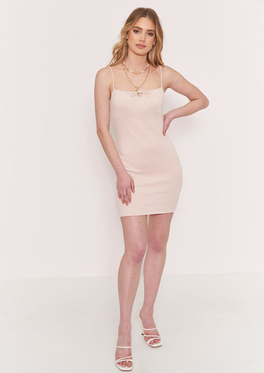 Strappy Cupped Mini Knitted Dress Beige