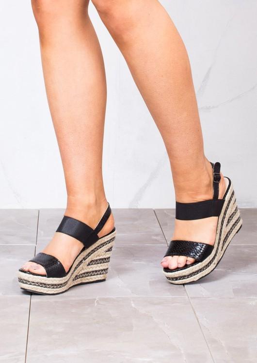 fe607e3b099 Strappy Espadrilles Platform Heeled Wedge Sandals Black