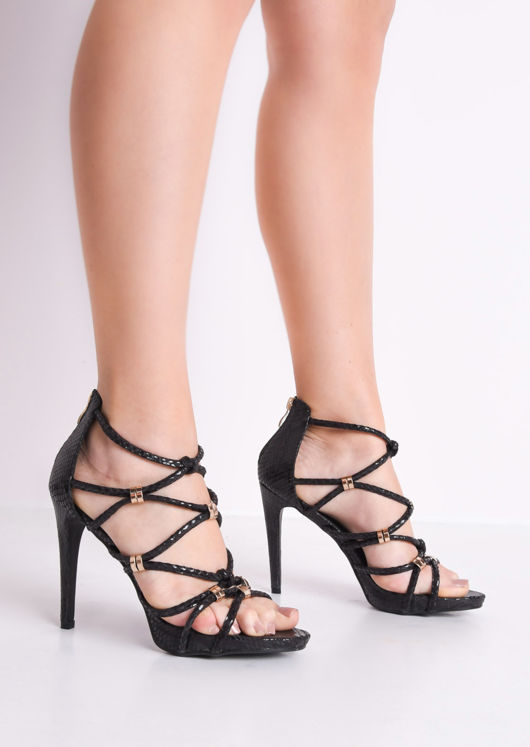 Strappy Faux Snakeskin Heeled Sandals Black