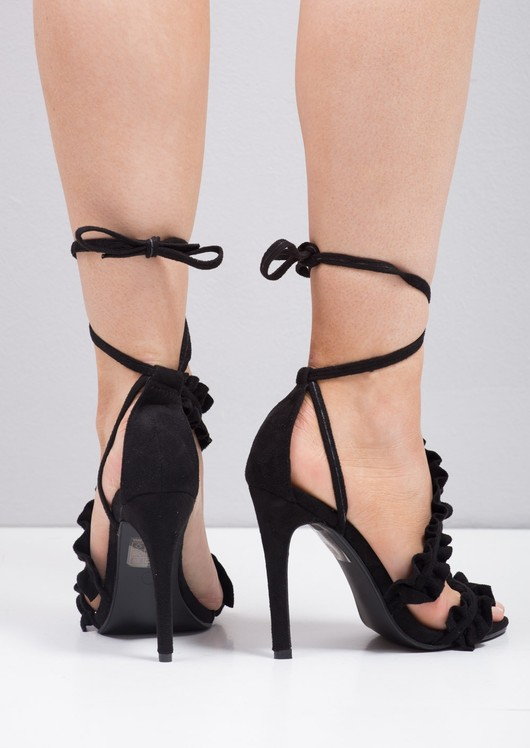 Strappy Frill Lace Up Stiletto Heels Black