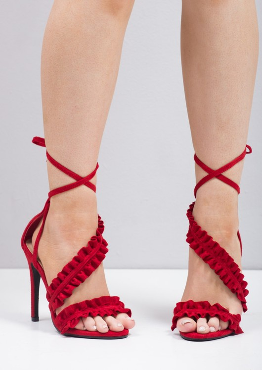 Strappy Frill Lace Up Stiletto Heels Red
