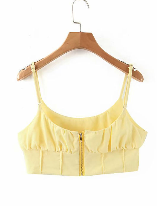Strappy Gathered Bust Crop Top Yellow