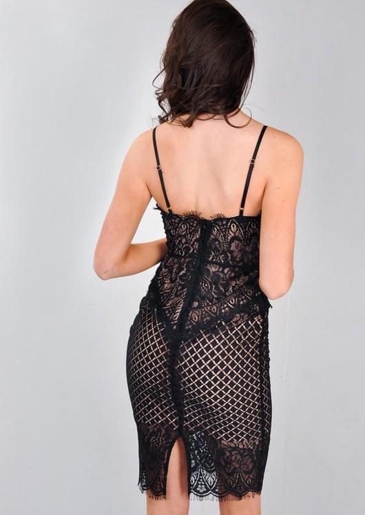 Strappy Plunge Neck Lace Midi Bodycon Dress Black