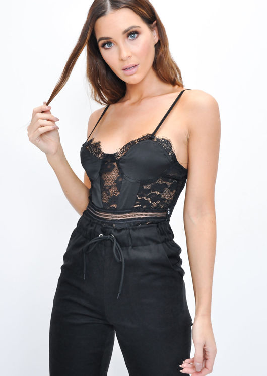 Strappy Lace Panel Satin Bodysuit Black