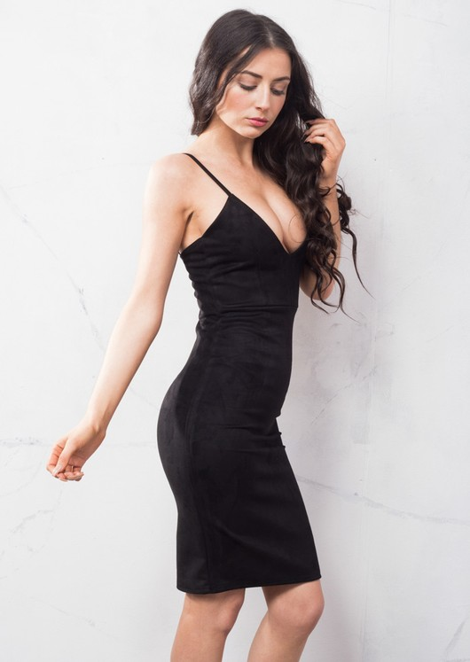 Strappy Plunge Neck Faux Suede Midi Dress Black