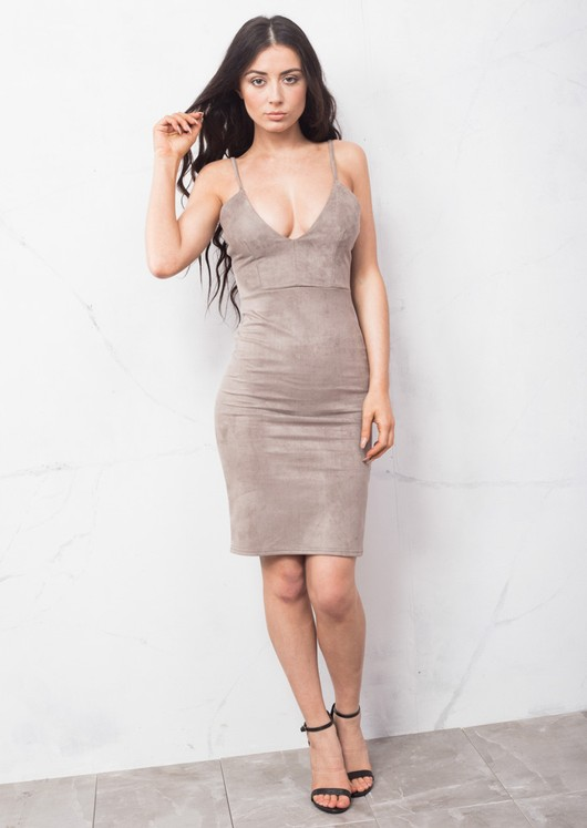 Strappy Plunge Neck Faux Suede Midi Dress Grey