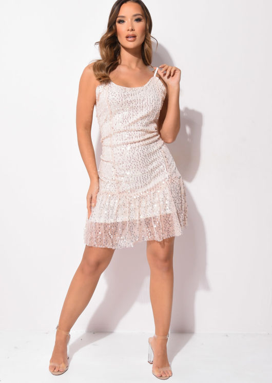 Strappy Sequin Frilled Hemline Mini Fitted Dress Pink